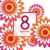 International Women`s Advertising Banner. 8 number 3d illustration with flowers on white background stock illustration