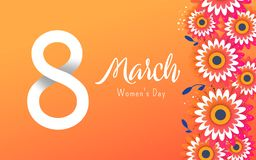 International Women`s Advertising Banner. 8 number 3d illustration with flowers on white background royalty free illustration