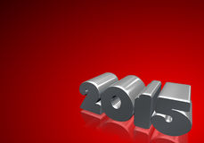 Number 2015 in 3D on red background. New Year - Christmas Card stock illustration