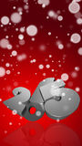 Number 2015 in 3D on red background. New Year - Christmas Card vector illustration