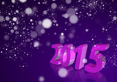 Number 2015 in 3D on violet background Royalty Free Stock Image