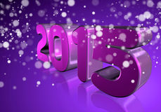 Number 2015 in 3D on violet background Stock Photos