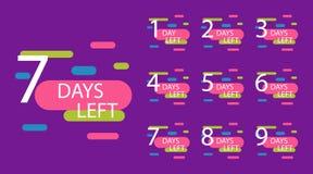 Number of days left badge stock illustration