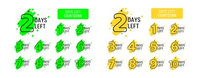 Number of days left tags. Big set. Bright yellow and green coutdown tags for business promotion, sale, discount, announcement. royalty free illustration