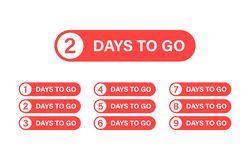 Number 1, 2, 3, 4, 5, 6, 7, 8, 9, 10, of days left to go. Collection badges sale, landing page, banner. Number 1, 2, 3, 4 5 6 7 8 9 10 of days left to go vector illustration