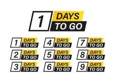 Number 1, 2, 3, 4, 5, 6, 7, 8, 9, 10, of days left to go. Collection badges sale, landing page, banner. Number 1, 2, 3, 4 5 6 7 8 9 10 of days left to go stock illustration