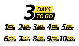 Number 1, 2, 3, 4, 5, 6, 7, 8, 9, 10, of days left to go. Collection badges sale, landing page, banner. Vector illustration. Number 1, 2, 3, 4 5 6 7 8 9 10 of royalty free illustration