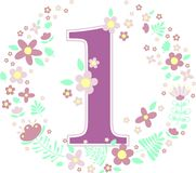 Number 1 with decorative flowers. And design elements isolated on white background. can be used for baby girl birth,age,birthday, nursery decoration, spring royalty free illustration