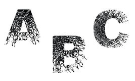 Number design element with floral texture A-B-C Stock Photos
