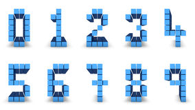 Number design. Set of numbers made in blue cube design Royalty Free Stock Photos