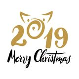 2019 Number for designing new year and merry christmas card, poster, banner, organizer. Hand drawn calligraphy, verctor lettering. with pig silhouette Royalty Free Stock Photography