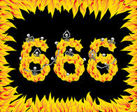 666 number of devil. Fire numeric. Skeletons in inferno. Sinners. In hell. Satanic symbol. hellish thick Royalty Free Stock Images