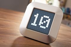 The Number 10 On A Digital Calendar, Thermostat Or Timer. The Number 10 On A Digital Chrome Calendar, Thermostat Or Timer Stock Images