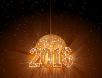 Number 2016 with disco ball. Royalty Free Stock Image