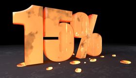 Number discount of fifteen percent made with incandescent metal. 3d illustration of fifteen percent discount sign made with incandescent metal Stock Photos