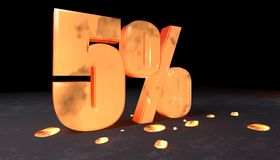 Number discount of five percent made with incandescent metal Royalty Free Stock Images