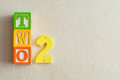 Number 2. Displayed as a word and a number royalty free stock image