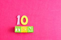 Number 10. Displayed as a word and a number Stock Images