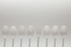 Number of disposable spoons and fork Royalty Free Stock Image