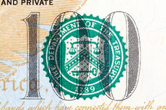 Number 100 on 100 dollar bill in macro. Hi res photo stock photos