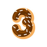 Number 3 donut. Doughnut font three. Sweet alphabet. candy lette. Ring. food ABC sign Stock Photos