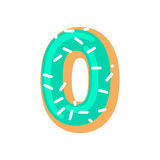 Number 0 donut. Doughnut font zero. Sweet alphabet. candy letter. Ing. food ABC sign Stock Images