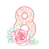 Number 8 with dotted rose in pink and green leaves  on white background. Stock Image