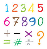 The number drawn by a crayon. Royalty Free Stock Images
