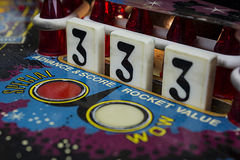 Number 3 Drop Targets on Pinball Machine stock photography