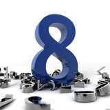Number Eight. 3d image of a blue number Eight with other chrome little numbers isolated on white background Stock Photos