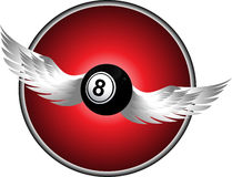 Number eight bingo ball with wings over metallic border Stock Photography