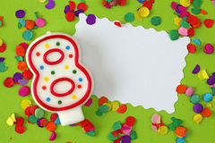 Number eight birthday candle Stock Photography