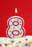 Number eight birthday candle Stock Images