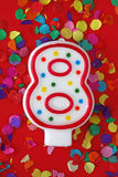 Number eight birthday candle royalty free stock photography