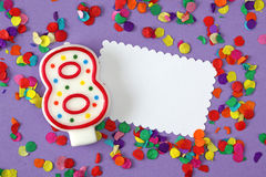 Number eight birthday candle Stock Image