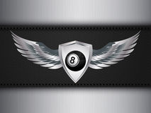 Number eight black ball and shield with wings Royalty Free Stock Images