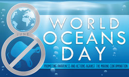 Number Eight Commemorating the Fight against Contamination for Ocean Day, Vector Illustration. Banner with silver number eight promoting the fight against marine Stock Photography