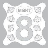 Number 8 eight, educational card, learning counting. With vegetables, mathematics. Vector illustration royalty free illustration