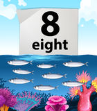 Number eight and eight fish swimming underwater. Illustration Royalty Free Stock Photos