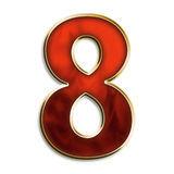 Number eight in fiery red. Number 8 in fiery red & gold isolated on white series Stock Photos