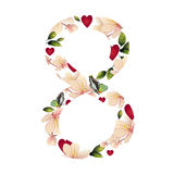 Number eight with flowers Royalty Free Stock Image