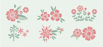 Number eight 8 of flowers. Sketch element for Royalty Free Stock Images