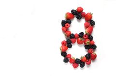 Number eight with fruits Royalty Free Stock Photo