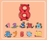Number eight with little bugs. Illustration Stock Photo