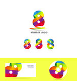 Number 8 eight logo icon set business corporate Royalty Free Stock Photos