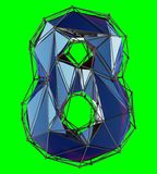 Number 8 eight in low poly style blue color isolated on green background. 3d vector illustration
