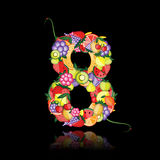 Number eight made from fruits. Vector Stock Image