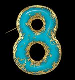 Number eight 8 made of golden shining metallic with blue paint isolated on black 3d royalty free illustration