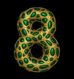 Number 8 eight made of golden shining metallic 3D with green glass isolated on black background. 3d rendering stock illustration
