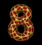 Number 8 eight made of golden shining metallic 3D with red glass isolated on black background. Royalty Free Stock Photos